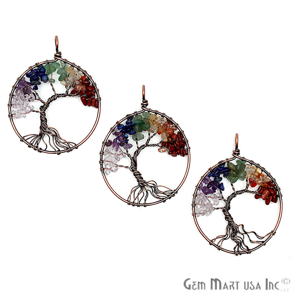 DIY Tree of Life Multi Stone 48mm Copper Wire Wrapped Gemstone Connector 1pc