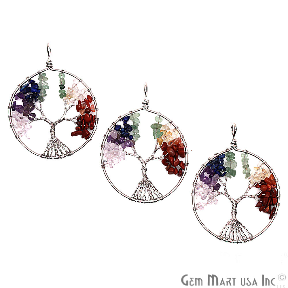 DIY Tree of Life Pendant, Pendants for Necklaces, Multi Stone Pendant, Silver Wire Wrapped, 48mm (CHPR-50824)