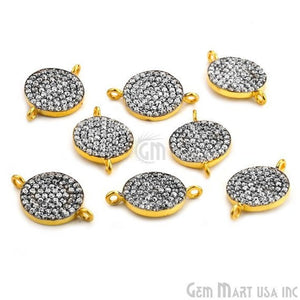 'Coin' CZ Pave 18x12mm Gold Vermeil Charm for Bracelet & Pendants