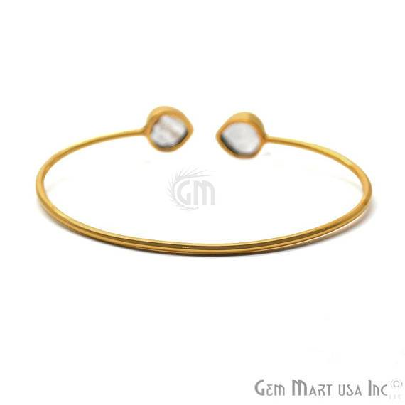 Copper Infused 10mm Heart Shape Adjustable Gold Plated Stacking Bangle Bracelet