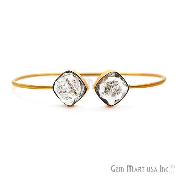 Copper Infused 12mm Cushion Shape Handmade Adjustable Gold Plated Stacking Bangle Bracelet (CIBA-19044)