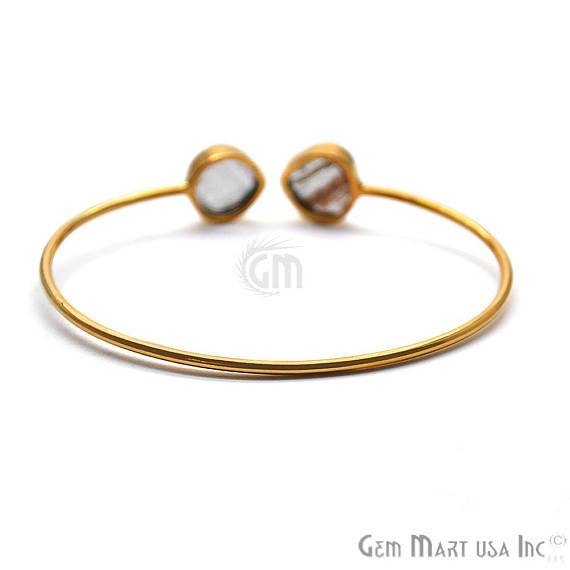 Copper Infused 12mm Heart Shape Adjustable Gold Plated Stacking Bangle Bracelet