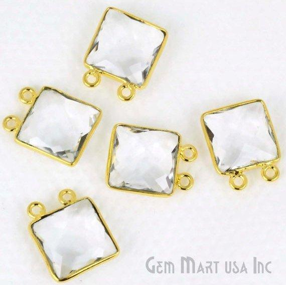 Square 12mm Gemstone Connector, Bezel Connector (Pick your Gemstone, Plating, Bail) (CL-10027-1)