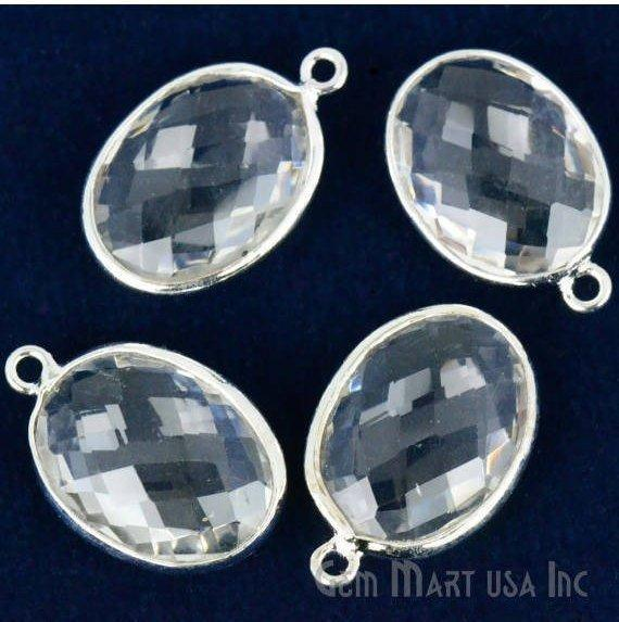 Oval Shape 12x16mm Gemstone Connector, Bezel Connector (Pick your Gemstone, Plating, Bail) (CL-10114-1)