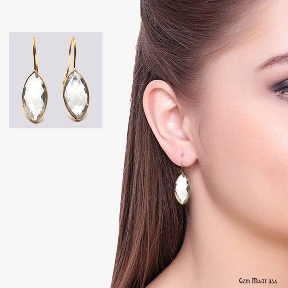 Marquise Shape 11x21mm Gold Plated Gemstone Hook Earrings 1 Pair (Pick your Gemstone)