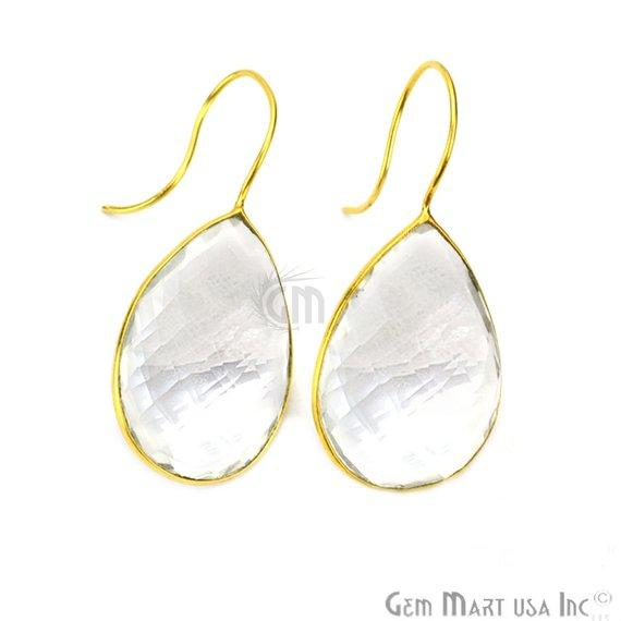 Pear Shape 30x20mm Gold Plated Gemstone Hook Earrings (Pick your Gemstone) (90106-1)