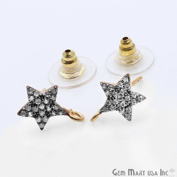 DIY Cubic Zirconia Earring Supply, Cubic Zircon Studs, CZ Pave Earrings, Loop Connector Earrings, Gold Bail Studs (CZ-90002)