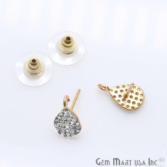 DIY Cubic Zirconia Earring Supply, Cubic Zircon Studs, CZ Pave Earrings, Loop Connector Earrings, Gold Bail Studs (CZ-90003)