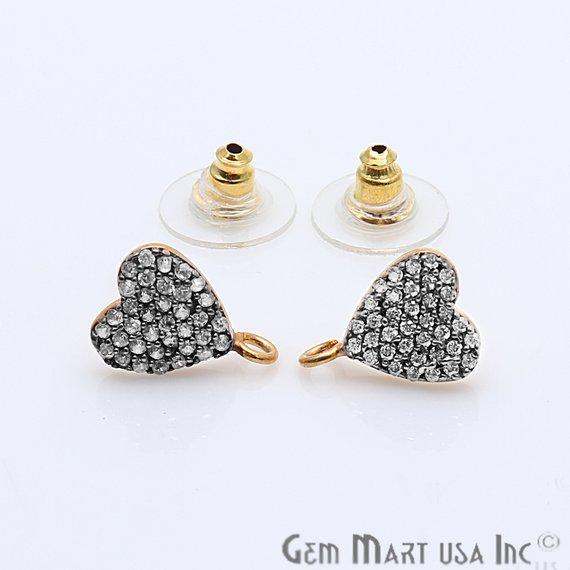 DIY Cubic Zirconia Earring Supply, Cubic Zircon Studs, CZ Pave Earrings, Loop Connector Earrings, Gold Bail Studs 1 Pair