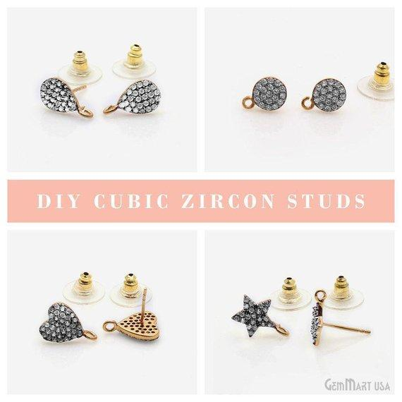DIY Cubic Zirconia Earring Supply, Cubic Zircon Studs, CZ Pave Earrings, Loop Connector Earrings, Gold Bail Studs (CZ-90007)