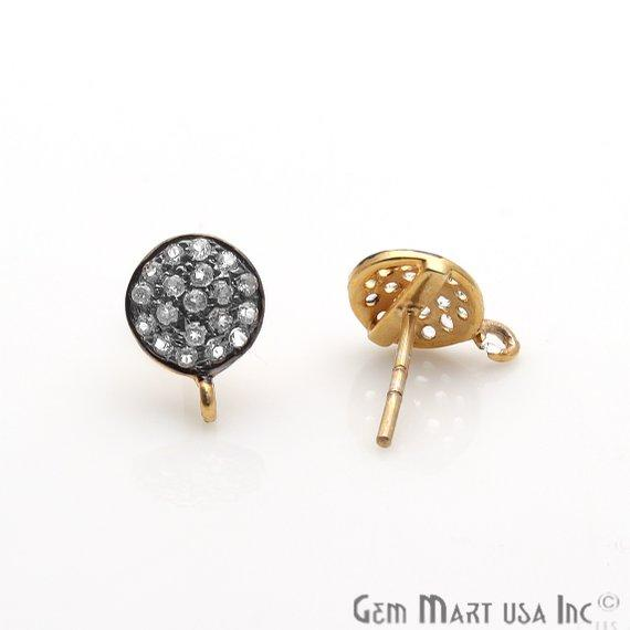DIY Cubic Zirconia Earring Supply, Cubic Zircon Studs, CZ Pave Earrings, Loop Connector Earrings, Gold Bail Studs (CZ-90008)