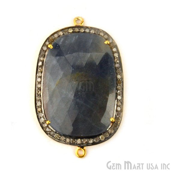 Natural Diamonds Wonder Sapphire 42x26mm Gold Vermeil Over Sterling Silver Connector