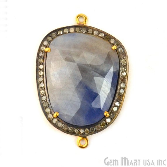 Natural Diamonds Wonder Sapphire 35x24mm Gold Vermeil Over Sterling Silver Connector