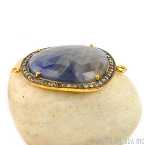 Diamonds Wonder Sapphire 35x24mm Gold Vermeil Over Sterling Silver Connector