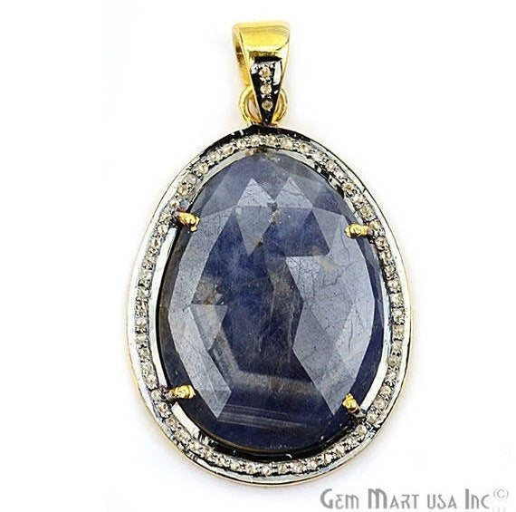 Natural Diamonds Wonder Sapphire 34X23mm Gold Vermeil Over Sterling Silver Pendant