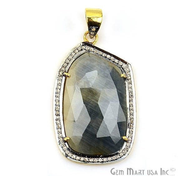 Natural Diamonds Wonder Sapphire 38x23mm Gold Vermeil Over Sterling Silver Pendant