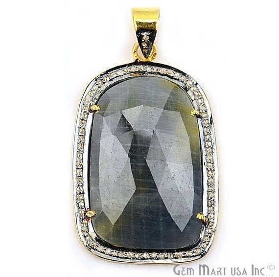Natural Diamonds Wonder Sapphire 36X23mm Gold Vermeil Over Sterling Silver Pendant