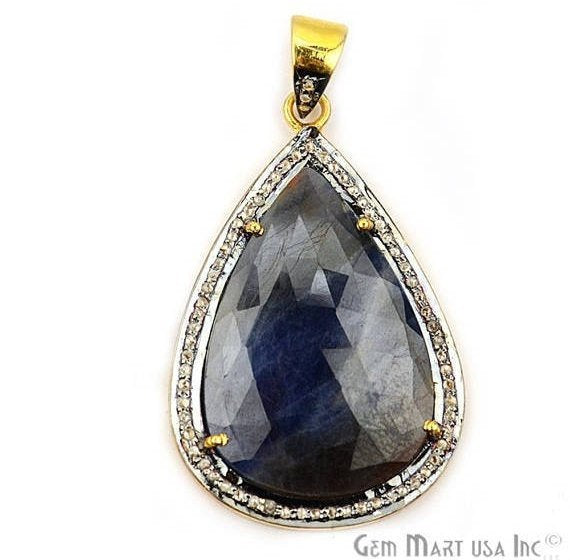 Natural Diamonds Wonder Sapphire 24X37mm Gold Vermeil Over Sterling Silver Pendant