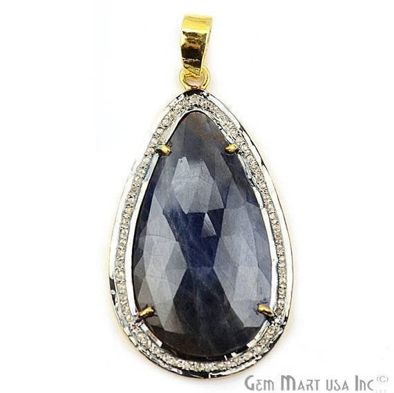Natural Diamonds Wonder Sapphire 42X23mm Gold Vermeil Over Sterling Silver Pendant