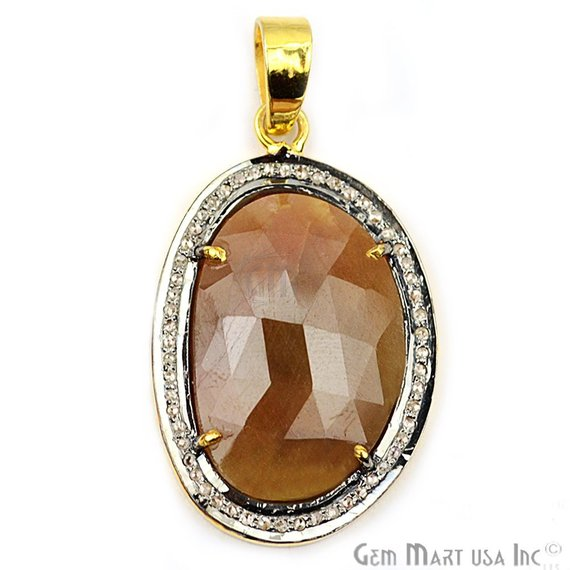 Natural Diamonds Wonder Sapphire 32x20mm Gold Vermeil Over Sterling Silver Pendant