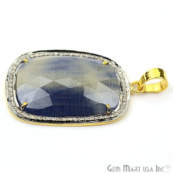 Natural Diamonds Wonder Sapphire 38x24mm Gold Vermeil Over Sterling Silver Pendant