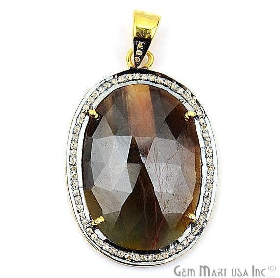 Natural Diamonds Wonder Sapphire 23x35mm Gold Vermeil Over Sterling Silver Pendant