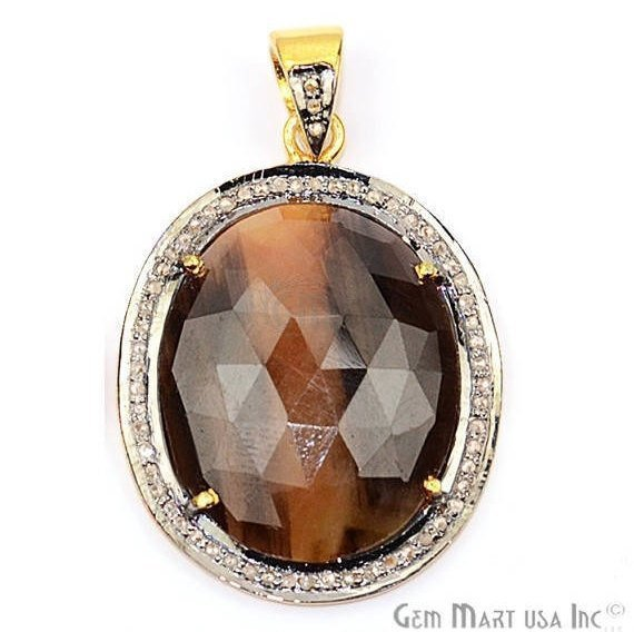Natural Diamonds Wonder Sapphi 32x24remm Gold Vermeil Over Sterling Silver Pendant