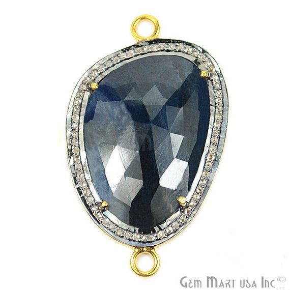 Natural Diamonds Wonder Sapphire 37x22mm Gold Vermeil Over Sterling Silver Connector