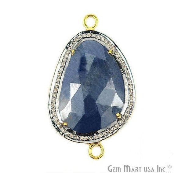 Natural Diamonds Wonder Sapphire 22x35mm Gold Vermeil Over Sterling Silver Connector