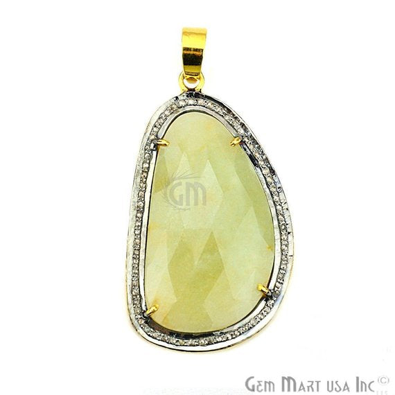 Natural Diamonds Wonder Sapphi 43x25mm Gold Vermeil Over Sterling Silver Pendant