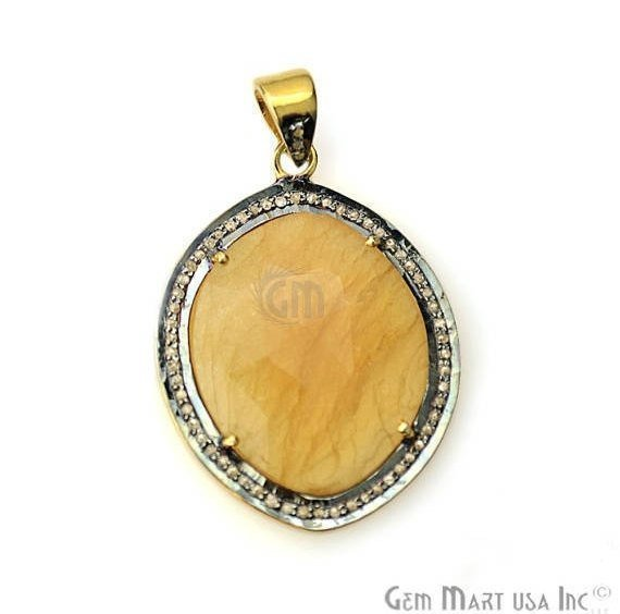 Natural Diamonds Wonder Sapphi 26x34mm Gold Vermeil Over Sterling Silver Pendant