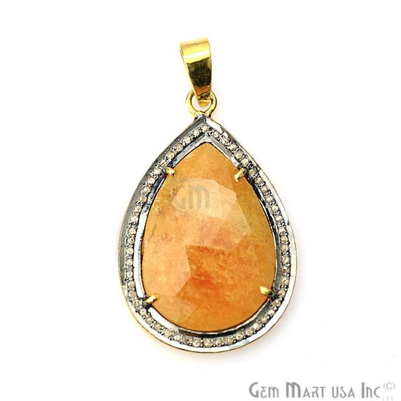 Natural Diamonds Wonder Sapphi 22x34mm Gold Vermeil Over Sterling Silver Pendant