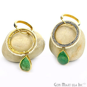 Victorian Estate Earring, 10 cts Natural Emerald With 0.75 cts of Diamond as Accent Stone (DR-12065) - GemMartUSA