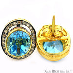 Victorian Estate Earring, 950 cts Hydro Blue Topaz With 032 cts of Diamond as Accent Stone (DR-12066)