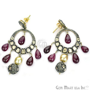 Victorian Estate Earring, 82.50cts Natural Ruby Pearl 2.80cts Sliced Diamond With 1.95cts of Diamond as Accent Stone (DR-12067) - GemMartUSA