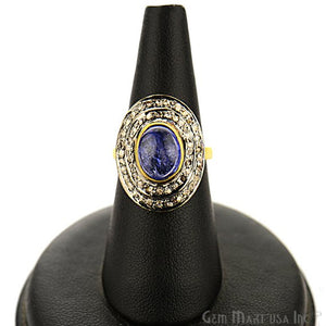 Victorian Estate Studs with Ring, 9.40 cts Natural Sapphire With 1.30 cts of Diamond as Accent Stone (DR-12166) - GemMartUSA