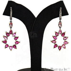 Victorian Estate Earring, 11 cts Pink Tourmaline With 0.18 cts of Diamond as Accent Stone (DR-12169) - GemMartUSA