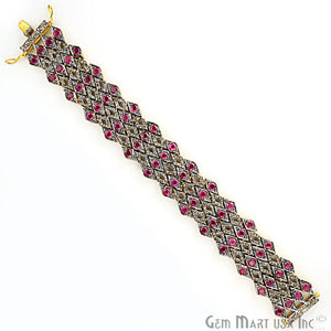 Victorian Estate Bracelet, 20.13 cts Ruby, With 4.70 cts of Diamond as Accent Stone (DR-12177) - GemMartUSA