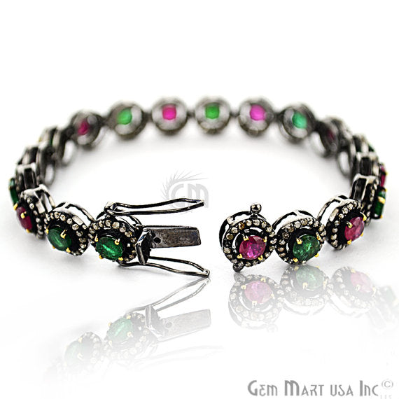 Victorian Estate Bracelet, 10.36 cts Ruby & Emerald, With 3.25 cts of Diamond as Accent Stone (DR-12183)