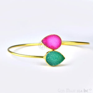 Double Druzy Gemstone Gold Plated Adjustable Bangle Bracelets (Pick Color) - GemMartUSA