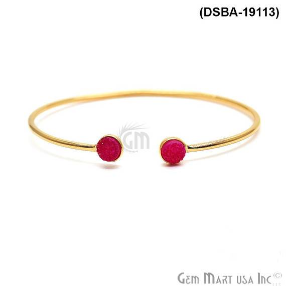 Gold Plated 6mm Round Druzy Adjustable Bangle Bracelets (Pick your Gemstone)