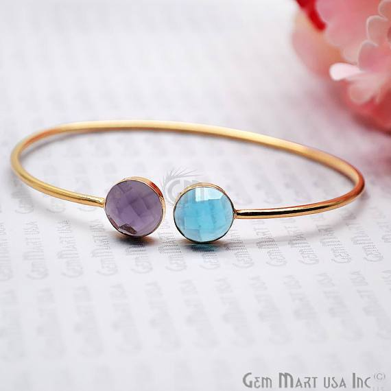 Gold Plated Round Shape 10mm Gemstone Adjustable Bangle Bracelets (Pick your Gemstone)
