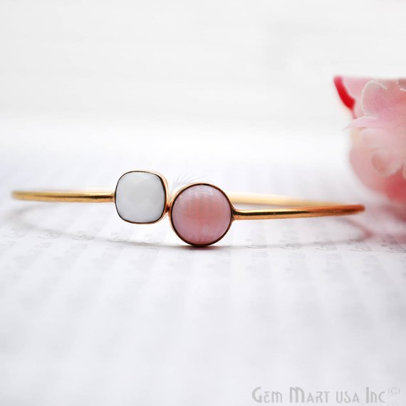 White Agate & Pink Opal Gold Plated Adjustable Bangle Bracelet (DSBA-19153)