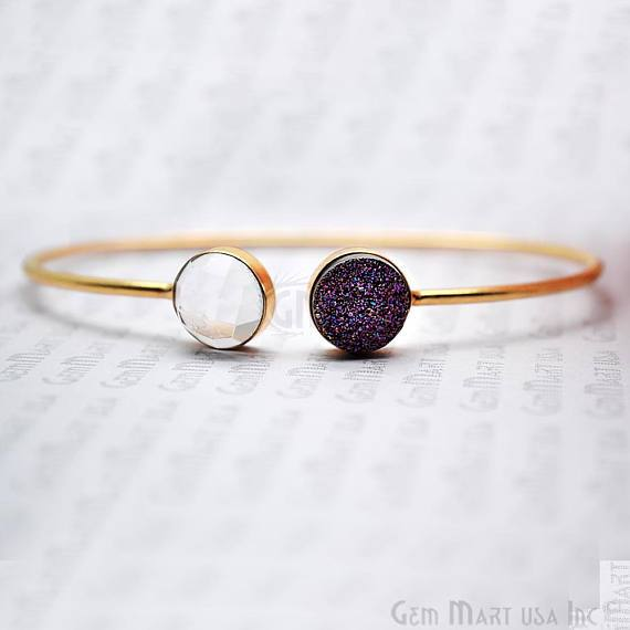 Gold Plated Round 10mm Druzy & Gemstone Adjustable Bangle Bracelets (Pick your Gemstone)