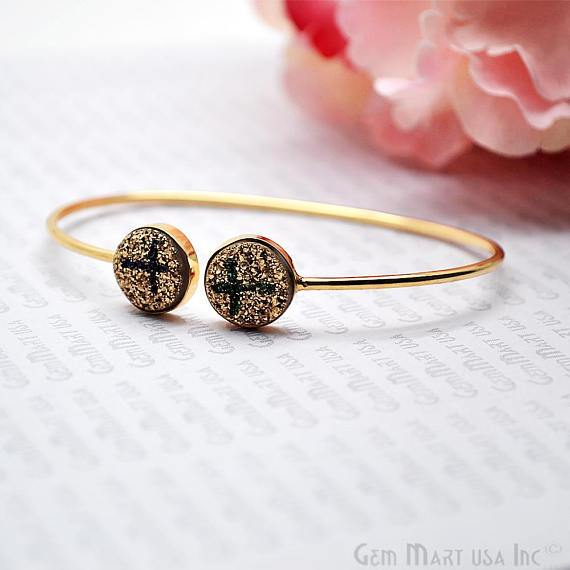 Gold Plated Round Shape 12mm Druzy Adjustable Bangle Bracelets (Pick your Gemstone)