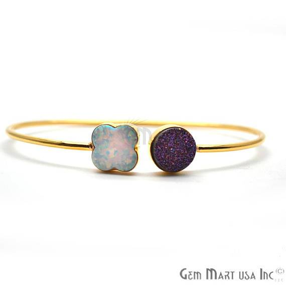 Opal & Purple Druzy Clover & Round Adjustable Gold Plated Stacking Bangle Bracelet