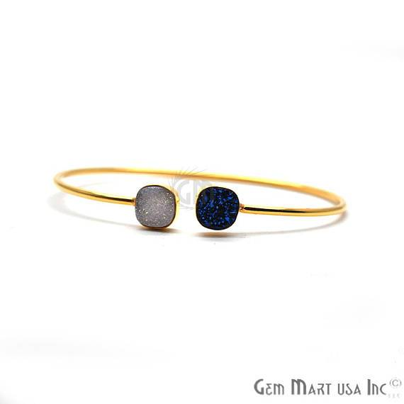 White & Blue Druzy Cushion Shape Adjustable Gold Plated Stacking Bangle Bracelet