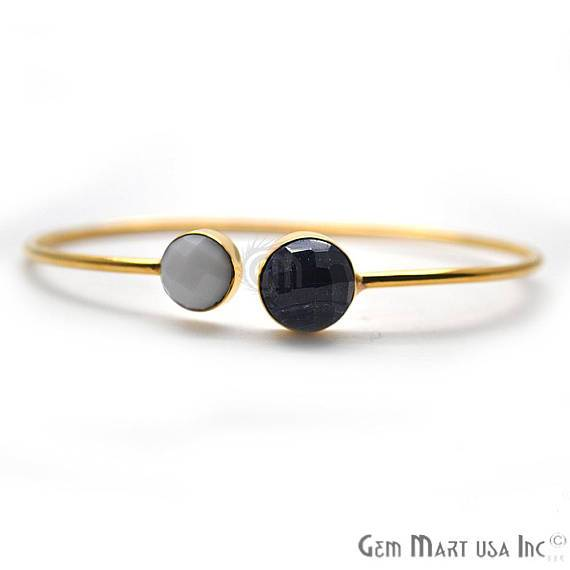 White Agate & Sapphire Gemstone Round Shape Handmade Adjustable Gold Plated Stacking Bangle Bracelet (DSBA-19257)
