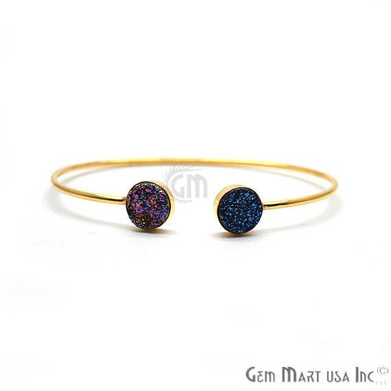 Purple & Blue Druzy Round Shape Adjustable Gold Plated Stacking Bangle Bracelet