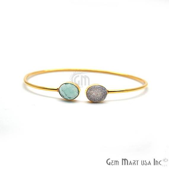 Aqua chalcedony & White Druzy Oval Shape Adjustable Gold Plated Stacking Bangle Bracelet